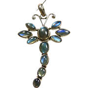 Dragon Fly Brooch with Blue Labradorite