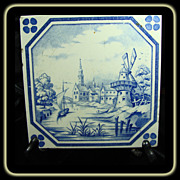Antique Villeroy & Boch Mettlach Tile Blue & White Transfer Ware European Scene
