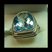 Sterling Silver Ring with Large Blue Topaz