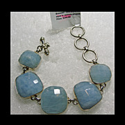 Aqua and Sterling Silver Link Style Bracelet