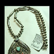 Vintage Sterling Pendant with Silver Overlay on a Chain of Sterling Silver Bench Beads