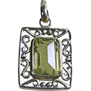 Emerald Cut Lemon Quartz Sterling Silver Pendant