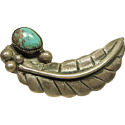 Sterling Feather  Shape Brooch with Turquoise