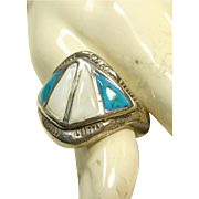Sterling Silver Ring with Mop and Turquoise Inlay