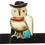 Sterling Silver Owl Ring with Stone on Metal Inlay