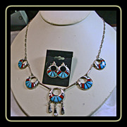 Zuni Sterling Silver Necklace and Earrings with Stone on Stone Inlay