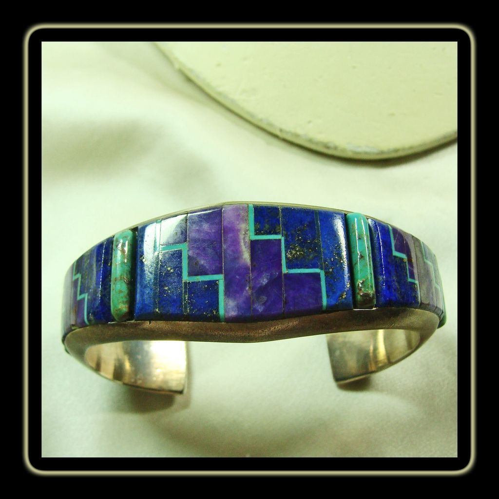 Alvin Yellow Horse Sterling Cuff Bracelet With Inlay In