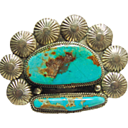 Sterling Silver Pin with Blue Green Turquoise and Sterling Conchos