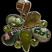 Sterling Silver Pendant with Moldavite, Idocrase, Ocean Jasper, Peridot and Green Amethyst