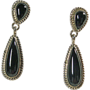 Southwestern Black Onyx Drop Style Earrings in Sterling