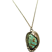 Turquoise and Sterling Silver Pendant on a Sterling Chain