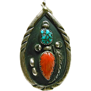 Southwestern Sterling Silver, Carved Coral and Turquoise Pendant