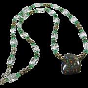 Clear Quartz, Apatite and Silver Necklace with Australian Boulder opal Pendant