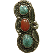 Sterling Silver Ring with Turquoise and Red Coral