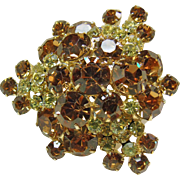 Juliana Yellow and Cognac Rhinestone Brooch