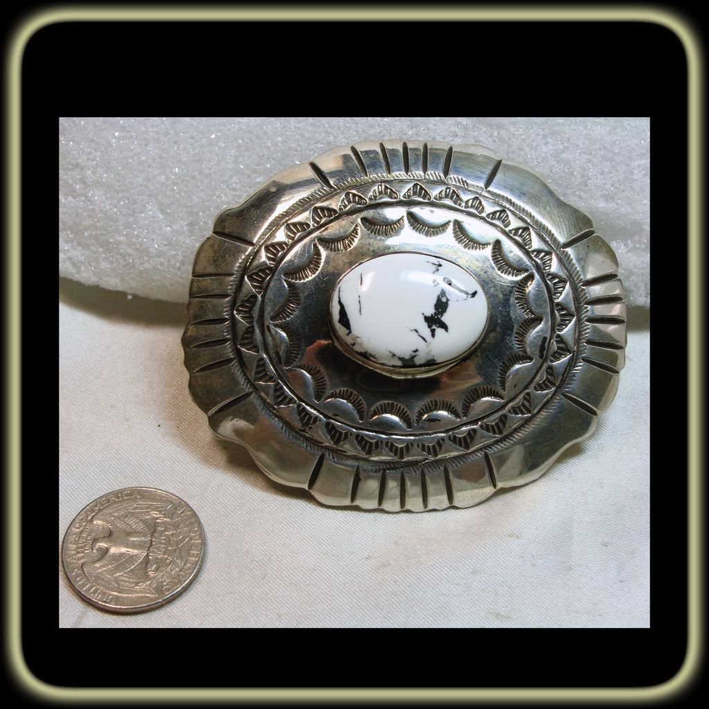 Sterling Silver Belt Buckle with White Buffalo Cabochon