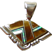 Native American Tiger's Eye and Opal Inlay Pendant