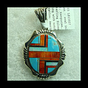 Large Sterling Silver Pendant with Spiny Oyster, Turquoise and Opal Inlay Decoration by Robert Kelly