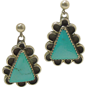 Triangular Sterling Silver Earrings with Turquoise