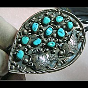 Unusual Sterling Silver Bolo with Turquoise and Overlay Silver Work