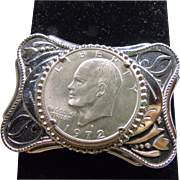 Southwestern NIckle Belt Buckle with 1972 Silver Dollar