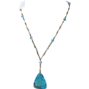 1920s-1930s Aqua Glass Pendant Necklace