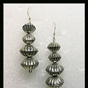 South Western Sterling Silver Fluted Bead Earrings