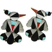 Sterling Silver ThunderBird Earrings with Inlay Decoration