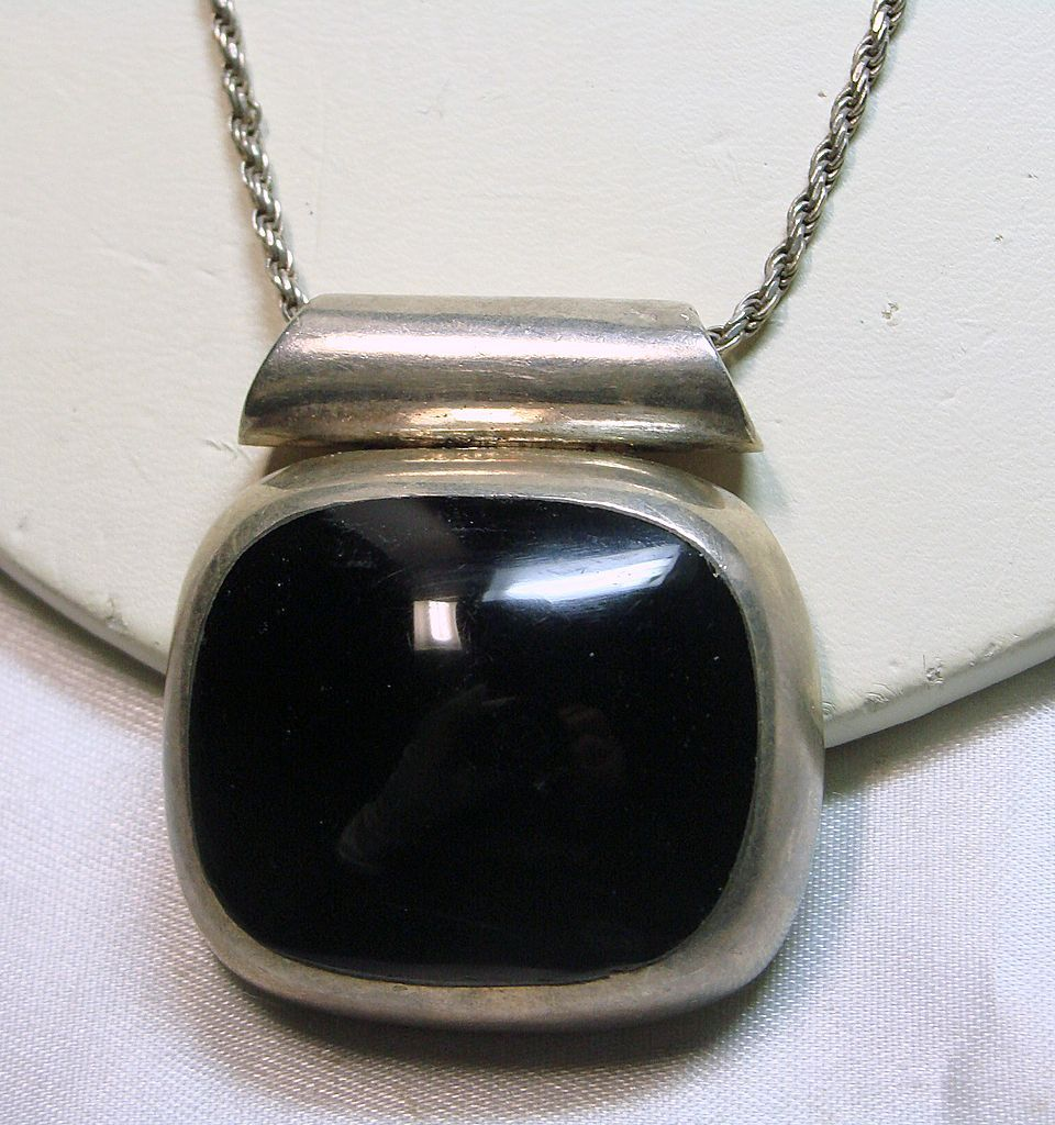 Reserved -Heavy Cushion Cut  Black Onyx Necklace Set in Sterling Silver
