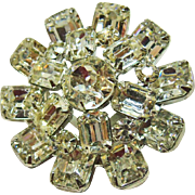Weiss Stunning Emerald Cut Rhinestone Broach