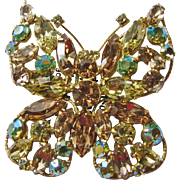 Regency Rhinestone Butterfly on Shades of Yellow and Topaz