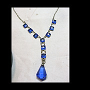 Deco Pendant Necklace is Cobalt Blue Glass and Silver Color Metal