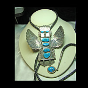 Large Bolo of Eagle Dancer Kachina in Sterling and Turquoise