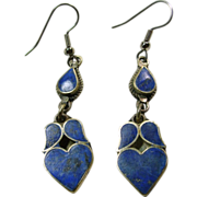 Denim  Lapis Heart Chandelier Earrings