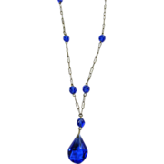 1920s-1930s Cobalt Blue Glass and Brass Necklace