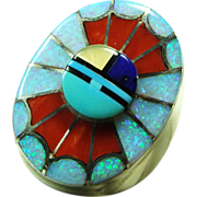 Amy Quandelacy Sterling Silver Signet  Ring with Stone on Metal Inlay