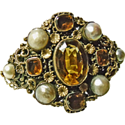 Austro-Hungarian Silver Gilt Bracelet with Citrines and Pearls