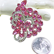 Weiss Hot Pink Rhinestone Broach