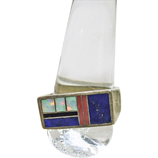 Sterling Silver Band Style Ring with Stone on Metal Inlay