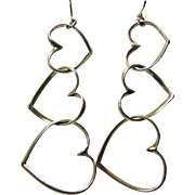 Triple Heart Shape Earrings in Sterling Silver