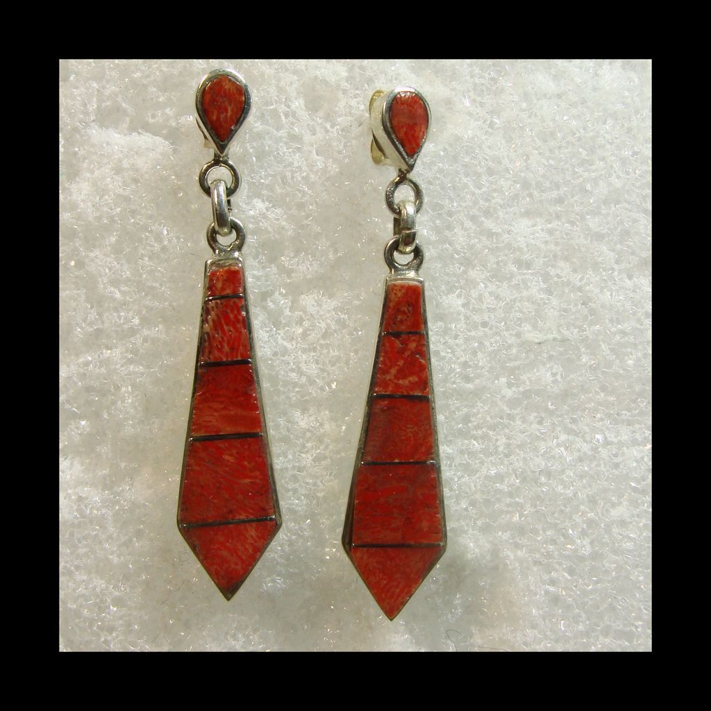 Sterling Silver Red Coral Inlay Drop Style Earrings for Pierced Ears