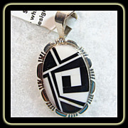 Black and White Stone on Stone Inlay Sterling Pendant