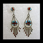 Zuni Sterling Silver Earrings with Stone on Stone Inlay