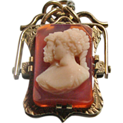 Victorian Locket/Watch Fob with Double Portrait Hardstone Cameo