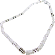Natural Clear Quartz and Crackle Quartz Necklace