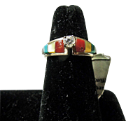 Sterling Silver Ring with a CZ Decorated with Inlay