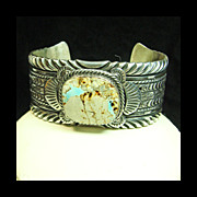 Navajo Sterling Silver Cuff Bracelet with Boulder Turquoise Cabochon