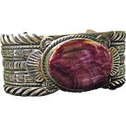 Purple Spiny Oyster and Sterling Silver Bracelet