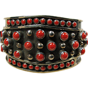 Navajo Red Coral and Sterling Silver Cuff Bracelet