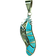 Sterling Silver and Turquoise and Opal Inlay Pendant